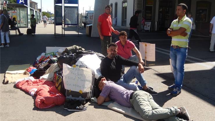 Das Protestcamp vor dem Bahnhof Solothurn im letzten August. Archiv/ckk
