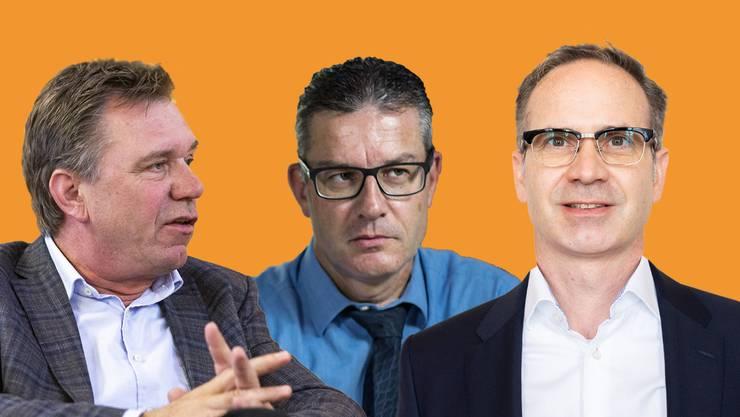 Eigene Parteimitglieder wie Martin Hitz (Mitte) werben prominent mit einer Wahlempfehlung für den Kleindöttinger SVP-Grossrat Patrick Gosteli (rechts). Das irritiert Andreas Meier (links)