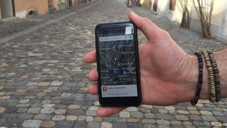 Am 10. März ist in Baden grosser Detektivtag. Mit der App von Detektiv-Trails, hat man auch gleich eine Karte vom Rätselpfad.