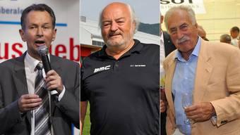 FDP-Parteipräsident Philipp Müller wünscht François Scheidegger Erfolg, derweil Unternehmer Andy Rihs und Industriemanager Ernst Thomke sich für Boris Banga ins Zeug legen.
