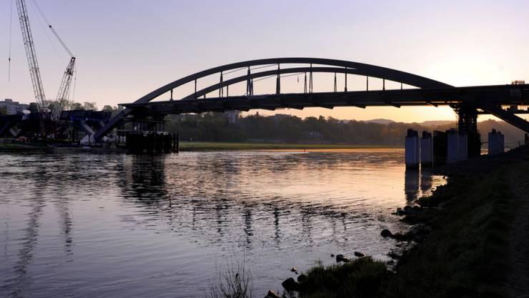 Baustelle der Waldschlösschenbrücke 2011. Seit 2012 ist die Brücke offen. (Archiv)