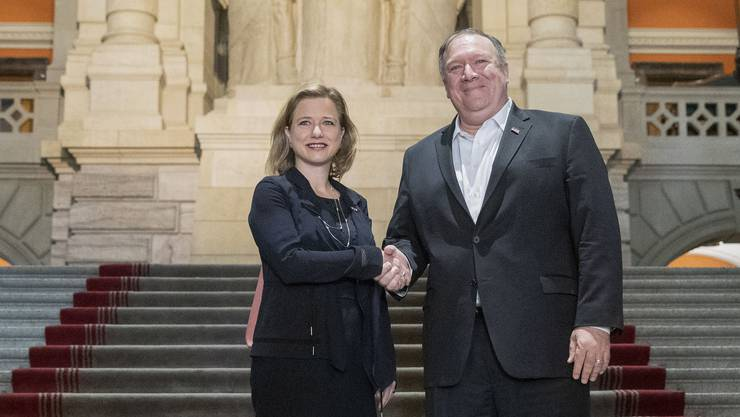 Nationalrätin Christa Markwalder mit US-Aussenminister Mike Pompeo.