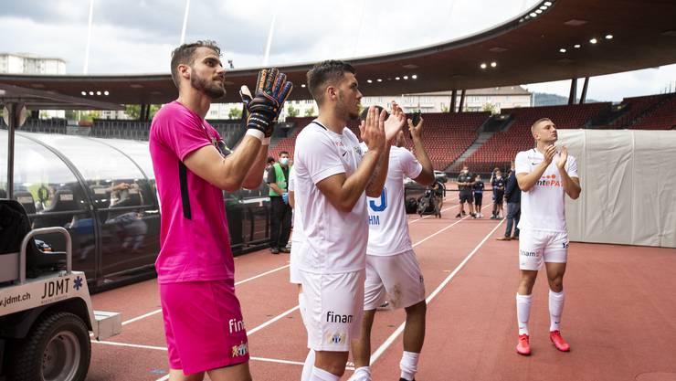 Jubel bei den Spielern des FC Zürich nach dem 1:0 gegen Lugano im Letzigrund.