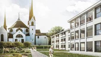 Der Neubau fügt sich mit einem Walmdach gut in die Umgebung des Klosters ein.