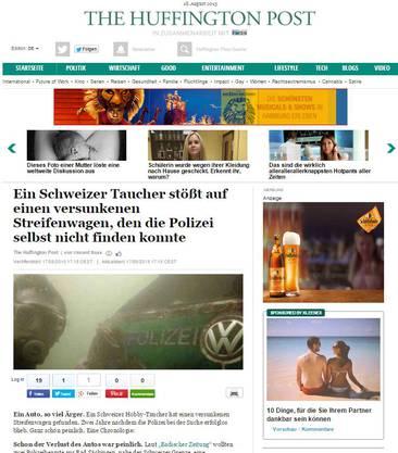 huffingtonpost.de: «Ein Schweizer Taucher stösst auf einen versunkenen Streifenwagen, den die Polizei selbst nicht finden konnte»