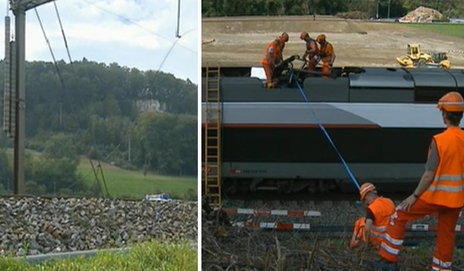 Diese gerissene Fahrleitung löste das Chaos aus (links), Bahnarbeiter beim Unglücks-TGV.
