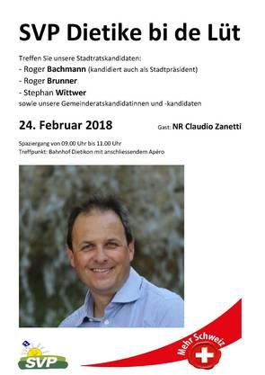 Am 24.2. wird NR Claudio Zanetti in Dietikon anwesend sein.