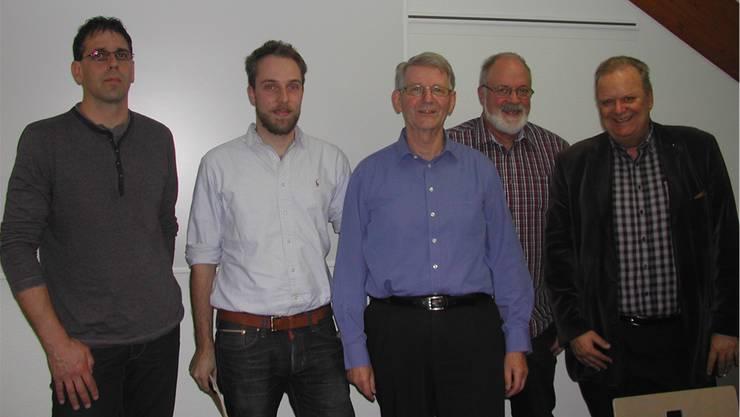 Sie stellten das Projekt vor: (Von links) Architekt Markus Sterki, Felix Steiner, Ernst Würsch, Herbert Steiner und Reinhard Hänggi.