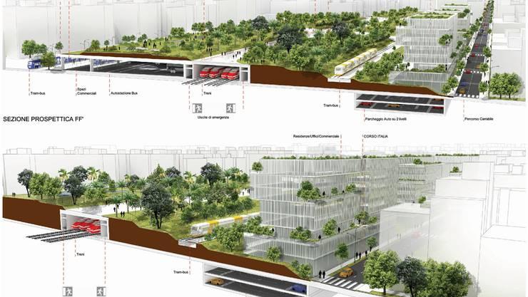 78 Hektaren gross wird der neue Park über den Gleisen in Bari. Statt wie bisher 2,7 Quadratmeter stehen jedem Einwohner künftig 5,1 Quadratmeter Grünfläche zur Verfügung. ZVG