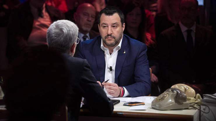 Matteo Salvini in der italienischen Fernsehsendung Rete 4 Ende Januar.