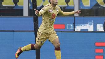 Iago Falque jubelt nach seinem Tor im Stadio Giuseppe Meazza