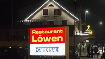 Das Restaurant Löwen in Kaltbrun, in dem die Pnos (Partei national orientierter Schweizer) die Gründung von fünf Pnos-Sektionen feiert (22.10.2016)