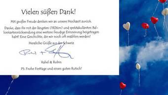 Das Brautpaar bedankte sich bei der deutschen Polizei.