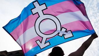 Eine Person an einer Kundgebung für die Rechte von Transmenschen. (Symbolbild)