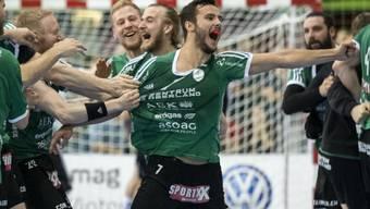 Nicolas Suter entschied das zweite Finalspiel mit einem Tor zwei Sekunden vor Schluss zugunsten von Wacker Thun