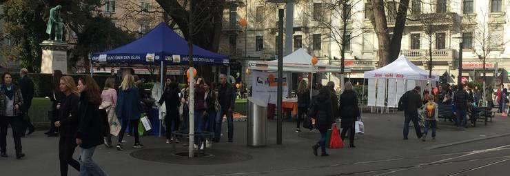 Meile der Religionen: An der Zürcher Bahnhofstrasse werben samstags religiöse Organisationen für ihre Interessen. Darunter die Koranverteilaktion Lies!.