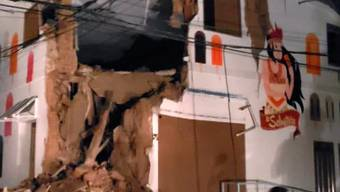 In der peruanischen Ortschaft Yurimaguas stürzte durch das Erdbeben die Ecke eines Hauses ein.