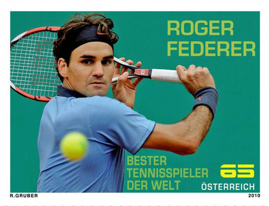 Die österreichische 65-Cent-Briefmarke mit den Konterfei von Roger Federer