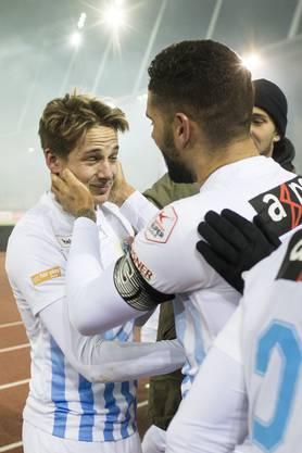 Cedric Brunner jubelt nach seinem 2:1 Tor im SchweizerCup Halbfinal.