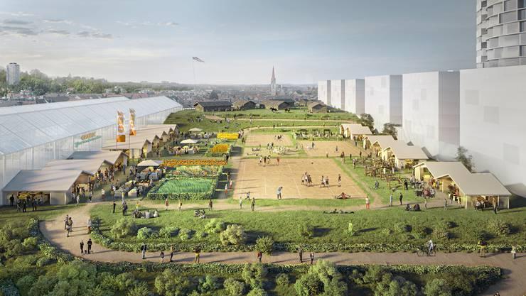 Die Architekten haben einen urbanen Freizeitparkt in Anlehnungen an ein landwirtschaftliches Idyll entworfen.