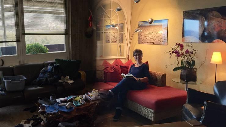 Barbara Erbs Wohnung vor und nach der Umgestaltung (Fotomontage)