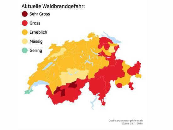 Diese Grafik von «SRF» zeigt die aktuelle Waldbrandgefahr in der Schweiz.