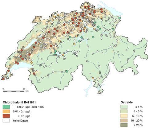 Die Belastung des Chlorothalonil-Abbauprodukts R471811 im Mittelland.