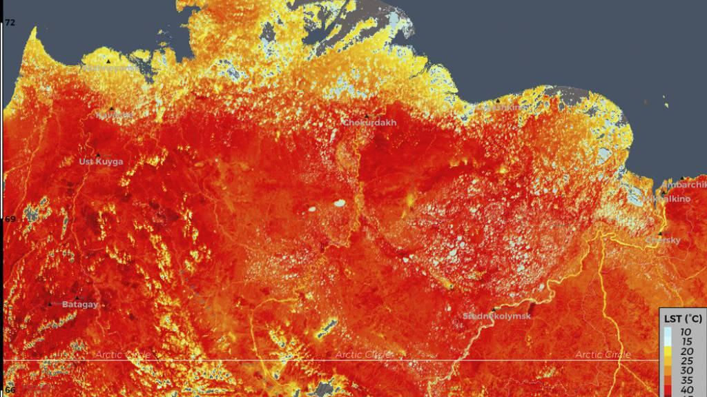 Ein Wärmebild aus einem Copernicus-Satelliten, das die Klimaerwärmung in der Arktis zeigt. Weil solche  Erdbeobachtungen enorm hilfreich sind, wird das Copernicus-Programm weitergeführt, mit immer besseren Geräten. (ESA)