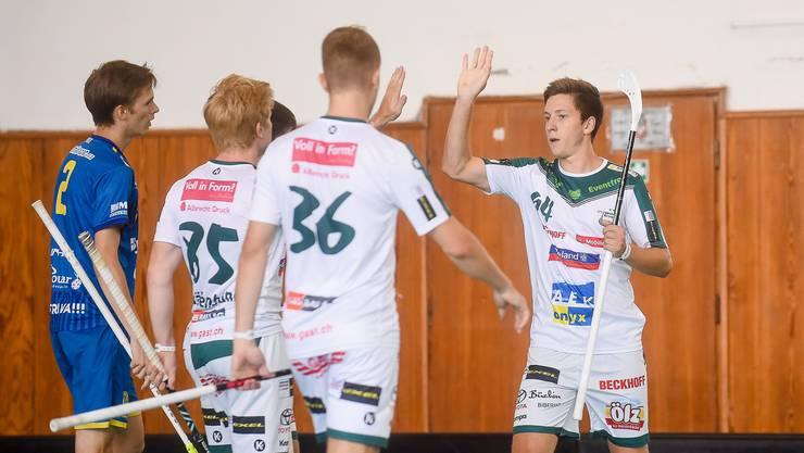 Der Jubel über eines der Tore von Wiler-Ersigen am Latvian Cup.