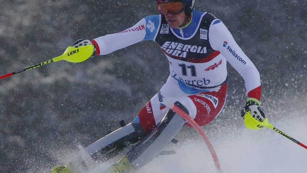 Daniel Yule während dem 1. Lauf beim Slalom in Zagreb.