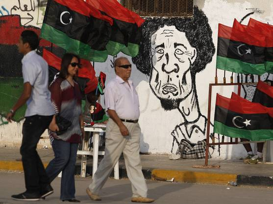 Eine Gaddafi-Karikatur in Benghasi
