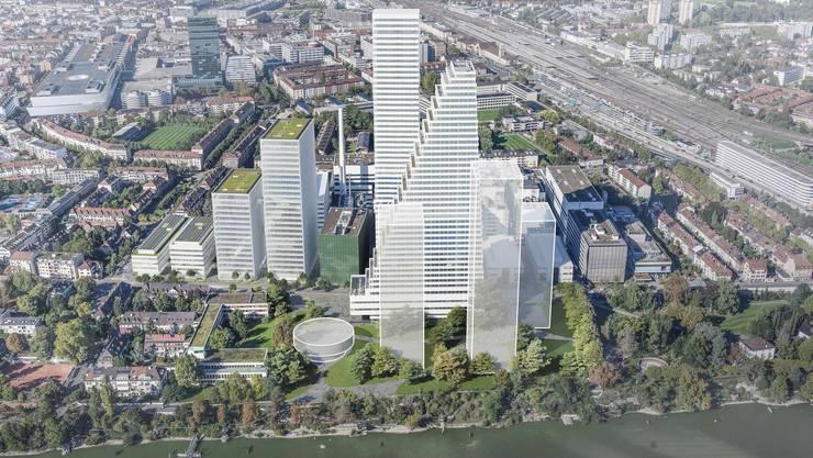 So soll die neue Rheinseite des Roche-Hauptsitzes in Basel aussehen.