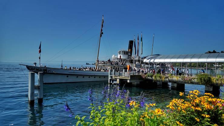 Die Anlegestelle für die Schiffe in Montreux. Copyright: Andreas Conrad/Front Row Society