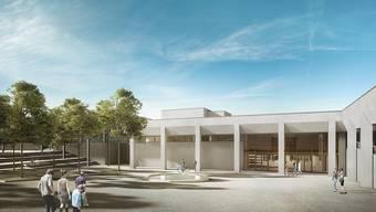 Nach der Sanierung: Vorplatz und Eingangsbereich des Sport- und Erholungszentrums Tägerhard. zvg/Visualisierung