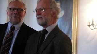 Werben für ein Ja: Katholik Benno Schnüriger und Reformierter Ruedi Reich.