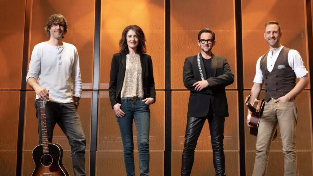Musikstars und Ambassadors des neuen Andermatter Musikfestivals The Bash: Adrian Stern, Sina, Michael von der Heide und Kunz (v.l.n.r.).