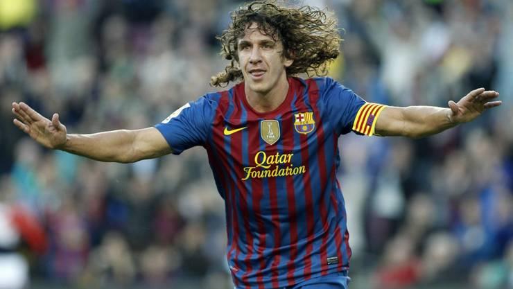Der Verteidiger Puyol war auch ein Torschütze. Hier im Spiel gegen Malaga im May 2012. Ende Saison ist nun Schluss - in der Verteidigung und im Angriff.