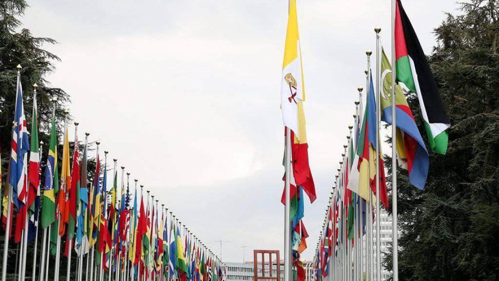 Die Flaggen Palästinas und des Vatikans (vorne) am Dienstag vor dem UNO-Sitz in Genf.