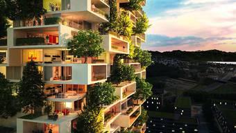 Eine Visualisierung zeigt den modularen Bau der Wohnungen sowie eine Teil der ingesamt 80 Bäume, die in der Fassade gepflanzt werden sollen.