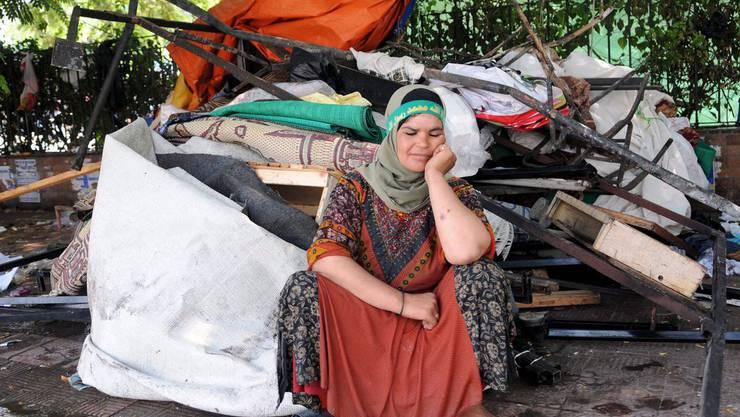 Eine ägyptische Demonstrantin, nachdem das Demonstrantenlager geräumt wurde