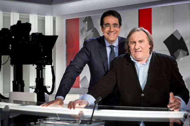 Rochebin mit Frankreichs Filmstar Gérard Depardieu.