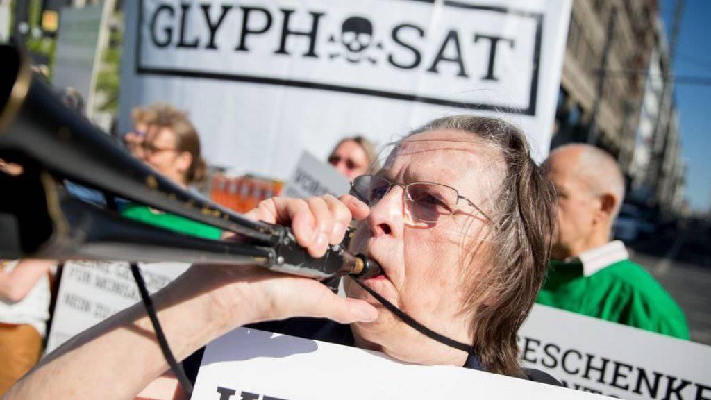 Kundgebung am Montag in Berlin gegen den Einsatz des Pestizids Glyphosat.