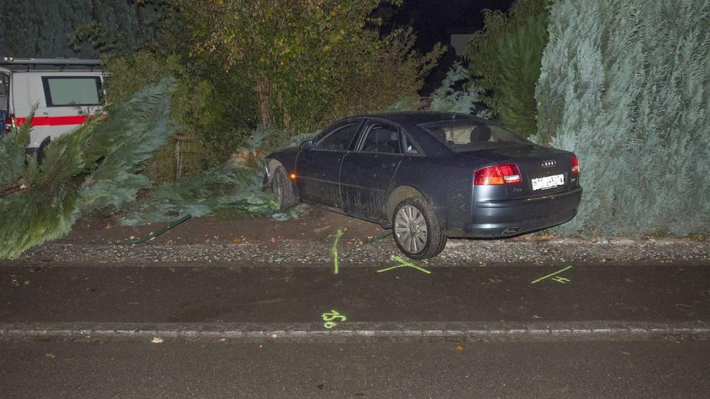 Der beschädigte Audi landete in einem Gebüsch. Bild: Kapo TG