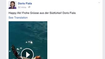 Facebook-Post von Doris Fiala.