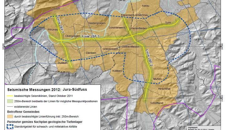 Karte für die seismologischen Messungen im Frühjahr 2012 der Nagra im Kanton Solothurn