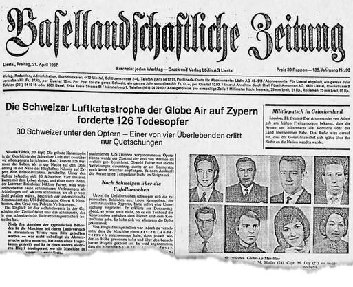 Die Titelseite der Basellandschaftlichen Zeitung vom 21. April 1967: Die gesamte Besatzung des Flugs wurde mit Foto und Name gezeigt.