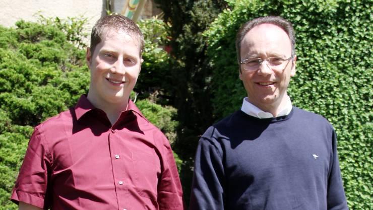 Pierino Menna (rechts) und Philippe Ebener (links) präsentierten sich der Bevölkerung von Balsthal.