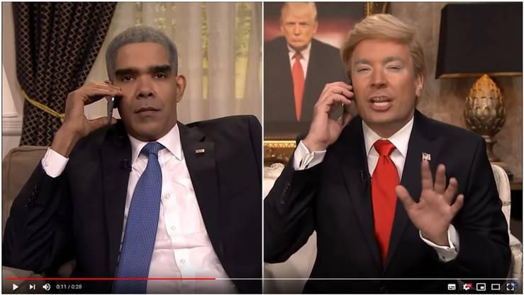 Schauspieler Dion Flynn (links) und Talkshow-Moderator Jimmy Fallon (rechts), die Barack Obama und Donald Trump imitieren.