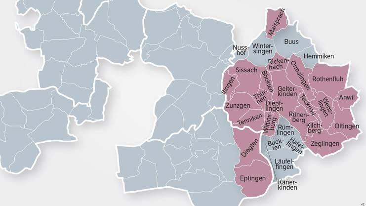 Die 22 eingefärbten Gemeinden sind beim neu gegründetenVerein Region Oberbaselbiet dabei, 20 aus dem BezirkSissach und 2 aus dem Bezirk Waldenburg.