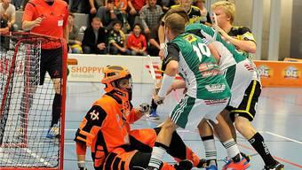 Tigers-Torhüter Juerg Siegenthaler sichert den Ball vor den anstürmenden Wiler-Akteuren.